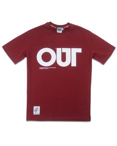 "T-shirt ""OUT"" bordo"